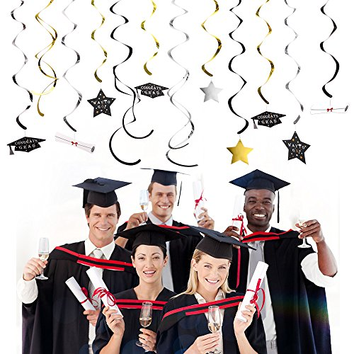 KUUQA 34 Piecies Graduation Hanging Swirl Decorations Stars Swirls 2019 Graduation Theme Party Supplies -