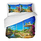 SanChic Duvet Cover Set Beautiful View to Tropical Island Resort Garden Palm Trees Flowers River on Fuerteventura Canary Decorative Bedding Set 2 Pillow Shams King Size