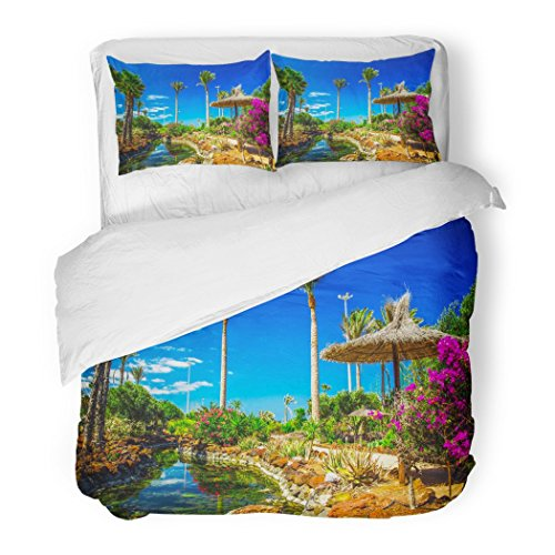 SanChic Duvet Cover Set Beautiful View to Tropical Island Resort Garden Palm Trees Flowers River on Fuerteventura Canary Decorative Bedding Set 2 Pillow Shams King Size by SanChic