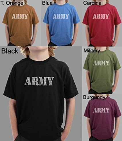 Amazon com: Boy's MILITARY GREEN Army Word Art T-shirt XL