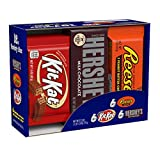 HERSHEY'S Halloween Chocolate Candy Bar Assorted Variety Box (HERSHEY'S Milk Chocolate, KIT KAT, REESE'S Cups), Full Size, 18 Count Gift