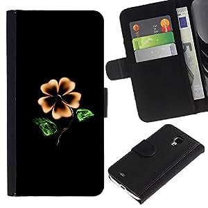 """Samsung Galaxy S4 Mini i9190 / i9195 (Not For Galaxy S4) , la tarjeta de Crédito Slots PU Funda de cuero Monedero caso cubierta de piel ("""" Flower Black Yellow Garden Art Painting Blossom"""")"""