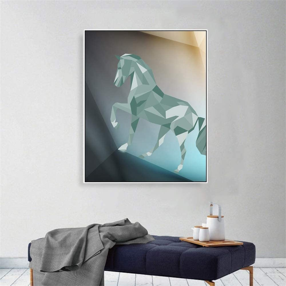 zgwxp77 Resumen Caballo Lienzo Pintura Animal Pared Arte Estilo geométrico Cartel e impresión Sala decoración Pintura pared56x70cm sin Marco