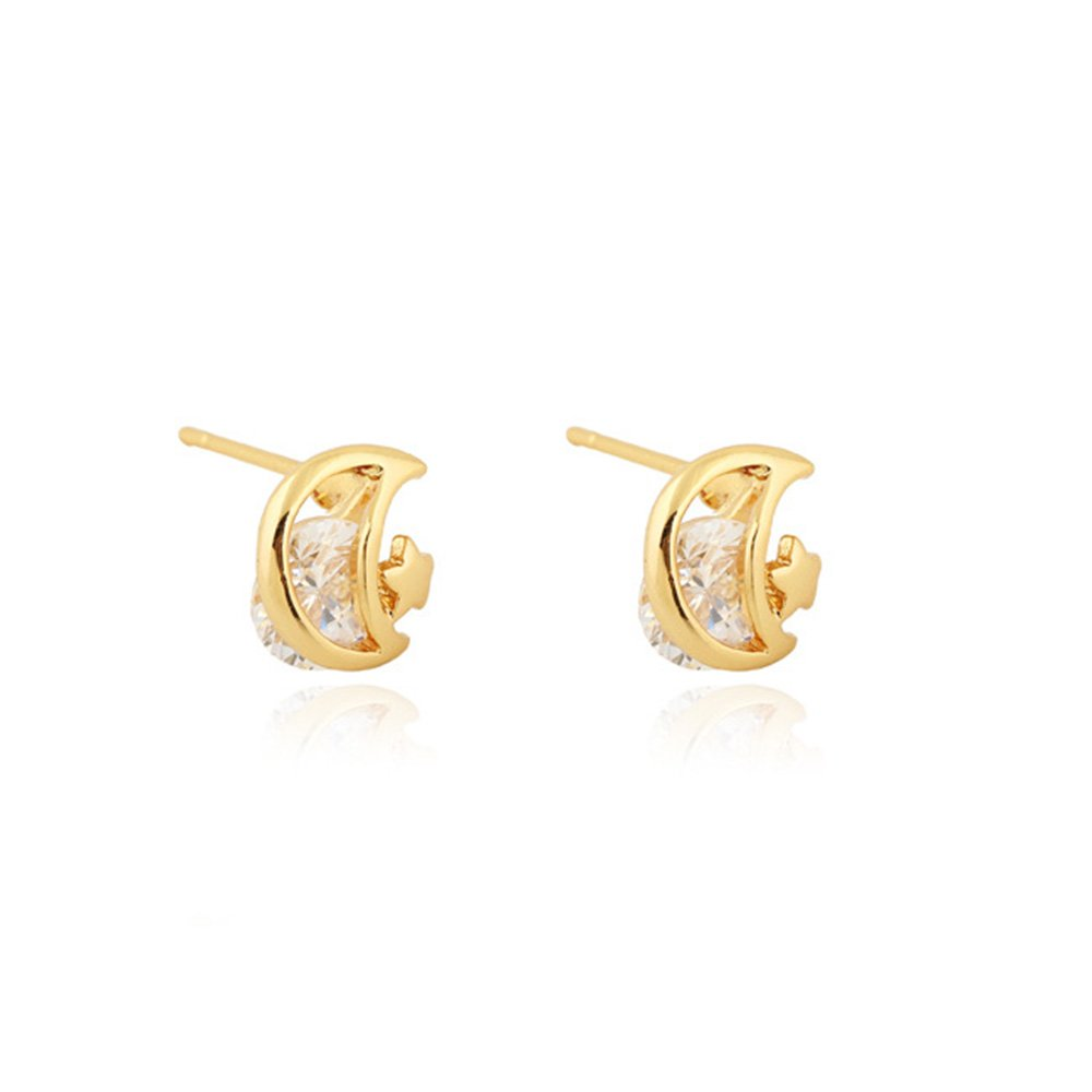 Dwcly Red or White CZ Stone Cute Tiny Cresent Moon Stud Earring Pretty Women Girls Ear Jewelry