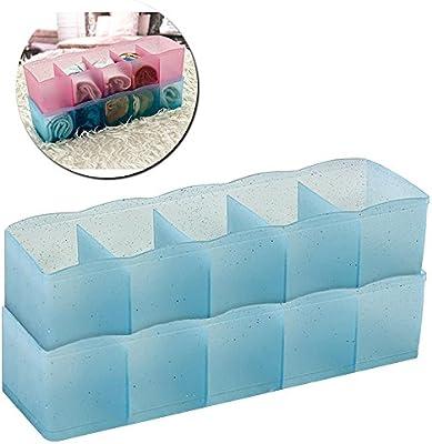 2 pcs cuello sujetador ropa interior calcetines ties cajón organizador caja de almacenaje con 5 compartimentos, separadores de plástico bufandas y escritorio cosméticos cajas de almacenamiento: Amazon.es: Hogar
