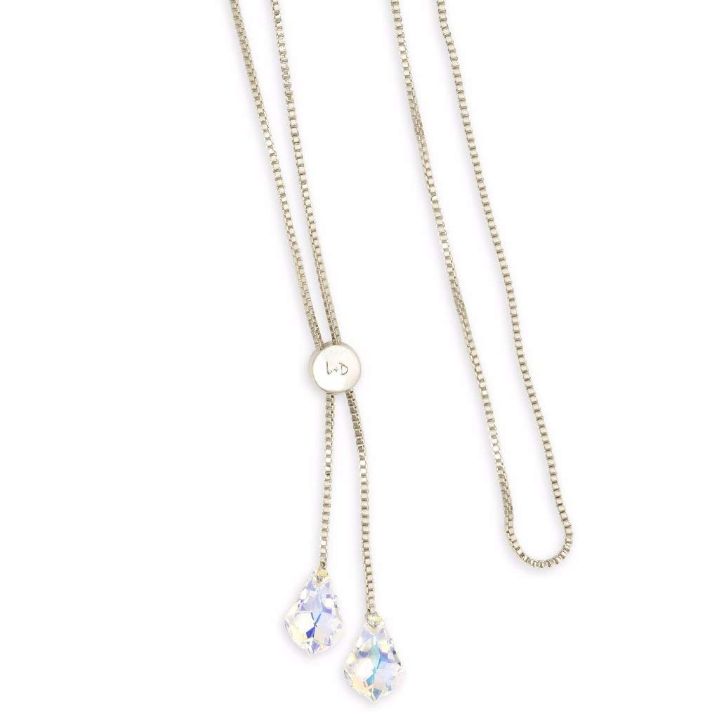Luca + Danni Baroque Lariat Necklace in Crystal AB - Silver Plated