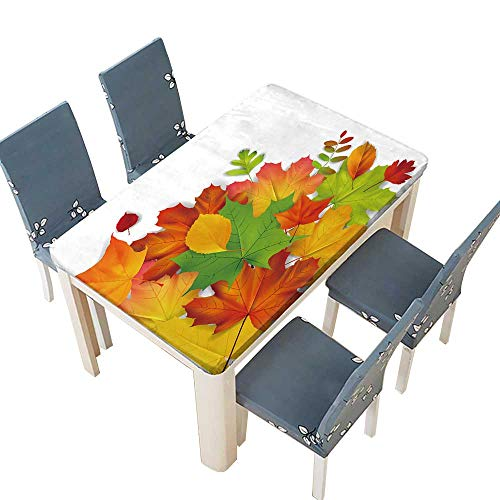 PINAFORE Jacquard Polyester Fabric Tablecloth Isolaited Colorful Autumn Leaves for Home Use, Machine Washable W61 x L100 INCH (Elastic Edge)
