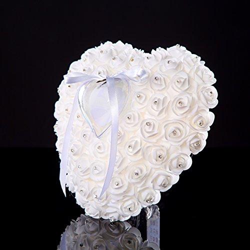 Lady Bella Wedding workshop Wedding Ring Bearer Pillow handmade White Bridal Ring Pillow, Swarovski Accent Ring Cushion- Wedding Gift