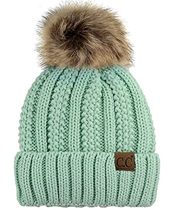 C.C Thick Cable Knit Faux Fuzzy Fur Pom Fleece Lined Skull Cap Cuff Beanie, Mint