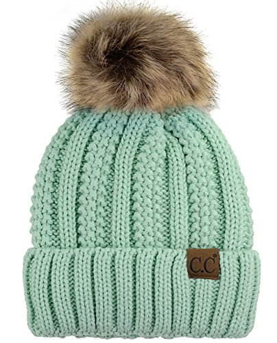 (C.C Thick Cable Knit Faux Fuzzy Fur Pom Fleece Lined Skull Cap Cuff Beanie, Mint)