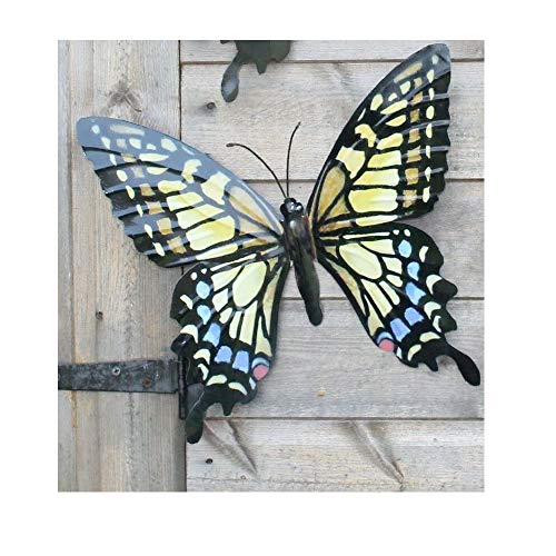 PRIMUS 35CM METAL PINK BUTTERFLY GARDEN WALL HANGING FENCE SHED ART ORNAMENT