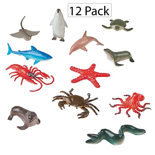 "Figurine Set Chest (Vinyl Ocean Animals - Pack Of 12 - 2"" X 3.5"" Assorted Animal Figures - Underwater Sea Life Creatures - For Kids Great Party Favors, Bag Stuffers, Fun, Toy, Gift, Prize, Piñata Fillers - By Kidsco)"