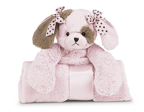 Bearington Baby Wiggles Cuddle Me Sleeper, Pink Puppy Dog Large Size Security Blanket, 28.5