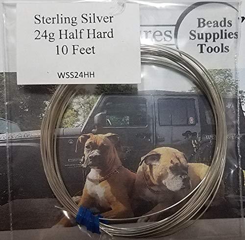 24 Gauge Sterling Silver Wire Half Hard Round - 10 Feet