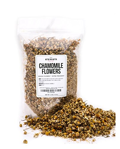 Chamomile Whole Flowers for Tea, Baking, Crafts, Sachets, Baths, Yoni Steam, Oil Infusions, Tinctures - 4oz in Resealable, Recyclable Pouch - by Better Shea Butter
