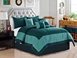 7-Pc Joey Windowpane Square Rectangle Bordered Boxed Stripe Comforter Set King Teal Blue Green