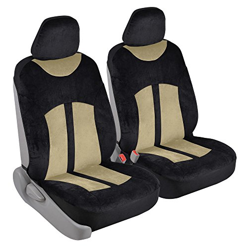 Velvety Smooth - Soft Velour 2pc Car Seat Covers for Front Bucket Auto Seats (Black & Beige Tan)