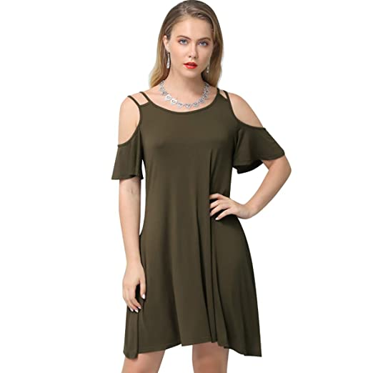 1932a102759 Aliling Women s Cold Shoulder Dresses Casual Pleated Swing Pocket Tunic T-Shirt  Dress Army Green