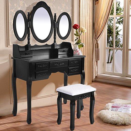 Belleze Makeup Tri-Folding Mirror Vanity Set with Stool Desk