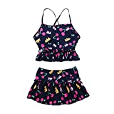 Clode for 1-6 Years Old,2Pcs Toddler Girls Print Halter Backless Swimwear Swimsuit Bathing Bikini Brief Set Outfits (Navy, 3-8 Years Old)