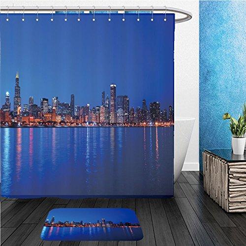 Beshowereb Bath Suit: ShowerCurtian & Doormat chicago illinois cityscape overlooking lake michigan at sunset hdr from five exposures - Macys Michigan