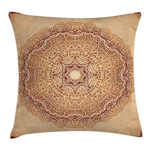 """Ambesonne Mandala Throw Pillow Cushion Cover, Mystical Meditative Inner Sign Style Motif with Repeating Lines, Decorative Square Accent Pillow Case, 20"""" X 20"""", Brown Tan"""