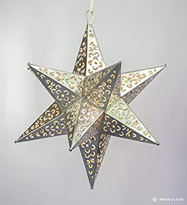 "Moravian Star Punched Pierced Metal Tin Pendant Light Lamp Hanging Ceiling Fixture Porch Outdoor - Handmade in Mexico (Silver- 21"")"