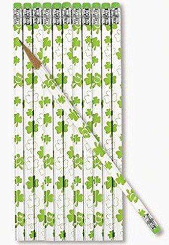 48 pc bulk St Patricks day SHAMROCK Pencils - party favors and prizes - 4 dz per order