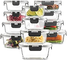 24-Piece Superior Glass Food Storage Containers Set - Newly Innovated Hinged BPA-free Locking lids - 100% Leak Proof...