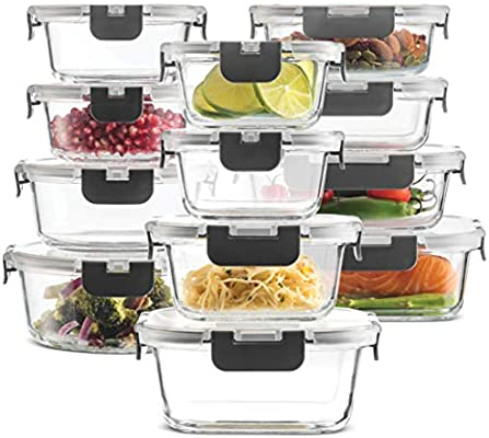 Amazon Com 24 Piece Superior Glass Food Storage Containers Set Newly Innovated Hinged Bpa Free Locking Lids 100 Leakproof Glass Meal Prep Containers Great On The Go Freezer To Oven Safe Food Containers Kitchen Dining