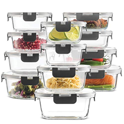 24-Piece Superior Glass Food Storage Containers Set – Newly Innovated Hinged BPA-free Locking lids – 100% Leakproof…