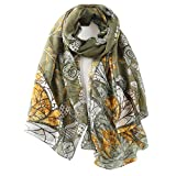 STORY OF SHANGHAI Womens 100% Mulberry Silk Head Scarf For Hair Ladies Floral Scarf