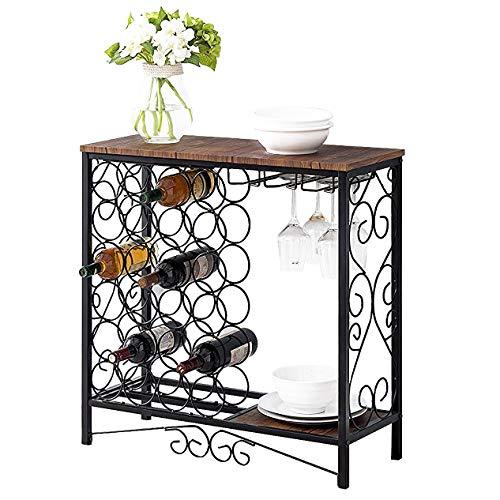BENOSS Vintage Wine Storage Organizer Display Rack,Industrial Wine Glass Holder,Freestanding Wine Rack Table Bar, Wine Cabinet for Kitchen Holds 24 Bottles from BENOSS