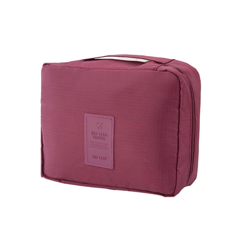 Lonson Toiletry Bag Waterproof Men Shaving Kit Travel Kit Women Cosmetic Bag (Wine Red)