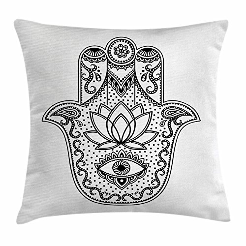 Ambesonne Evil Eye Throw Pillow Cushion Cover, Arabic Ethnic Amulet Design Ancient Hamsa Symbol with Swirls and Lotus Flower, Decorative Square Accent Pillow Case, 18 X 18 Inches, Black and White