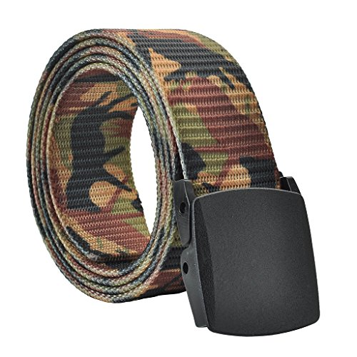 Faleto Mens Military Webbing Automatic Buckle Plastic Nylon Belt (#10 Camouflage)