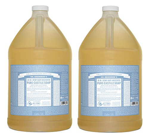 Dr. Bronner's Fair Trade & Organic Castile Liquid Soap - (Baby Unscented, 1 Gallon - 2 Pack) by Dr. Bronner's
