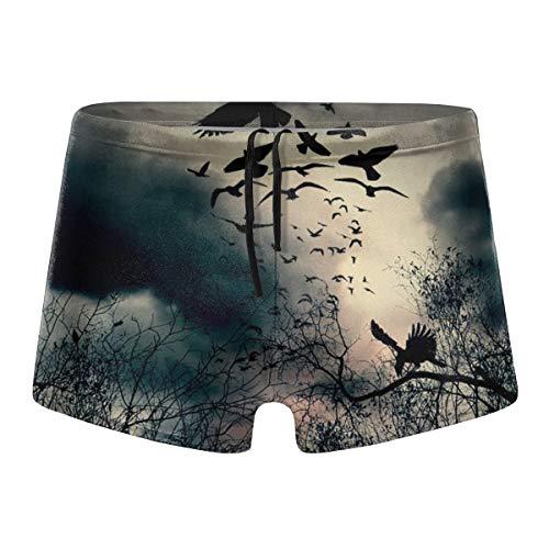 Oomato Black Crow Men Short Boxer Swimwear,Quick Dry Square Leg Sexy Swimsuit,Surf Athletic ()