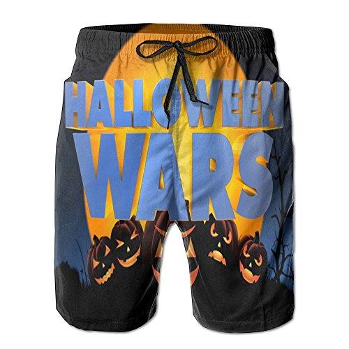 UYILP Halloween Pumpkin Wars Colorful Men's Beach Shorts Board Swim Trunks