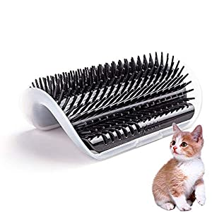 HATELI Cat Corner Self Groomer Brush - Cat Groomer, Cat Wall Corner Massage Comb to Control Shedding Fur and Itching 38