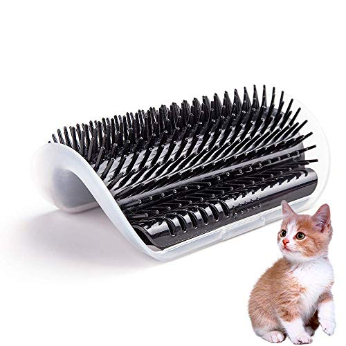 Hateli Cat Corner Self Groomer Brush - Cat Groomer, Cat Wall Corner Massage Comb to Control Shedding Fur and Itching (Black)