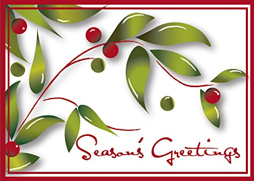(Holiday Greeting Cards - H1012. Greeting Cards with Holly Berries and Season's Greetings Message. Box Set Has 25 Greeting Cards and 26 White with Red Foil Lined Envelopes.)