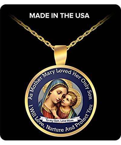 Mother Mary And Son Necklace - To My Son, Love Mom (Horse Tooth Necklace)