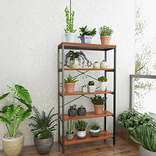 4-Shelf Industrial Bookshelf, Wood and Metal Bookcase, Open Wide Home Office Book Shelf Free Vintage Standing Storage Shelf Units
