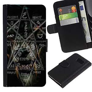 Samsung Galaxy S6 / SM-G920 , la tarjeta de Crédito Slots PU Funda de cuero Monedero caso cubierta de piel ( Witch Rock Metal Heavy Pentagram Black Dark)