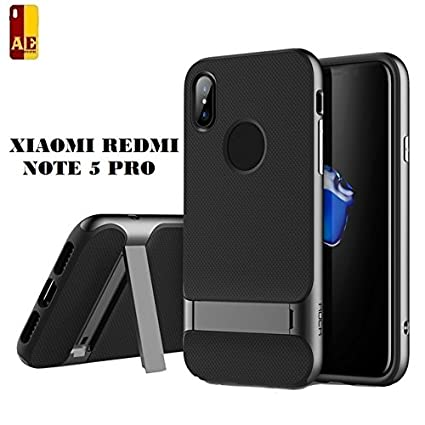 size 40 a89fd ab76b AE Mobile Accessories Shock Proof Rugged Rock Royce Dual Layer Armor PC  Frame,Silicone Kickstand Protector Back Cover for Redmi Note 5 Pro, Grey