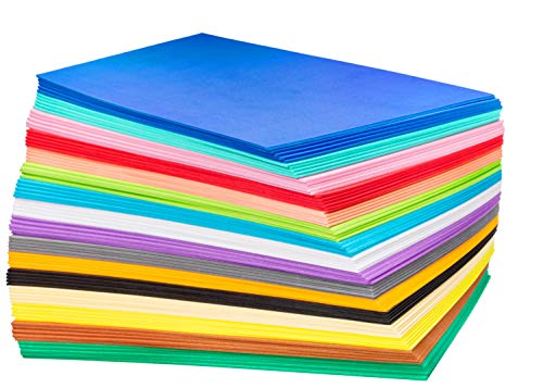 EVA Foam Handicraft Sheets (80 Pack - 6.5 x 9 Inches) Assorted Colorful Crafting Sponge for DIY Projects, Classroom, Parties and More by My Toy House | Thick and Soft Paper, 16 Colors 5 Pieces Each