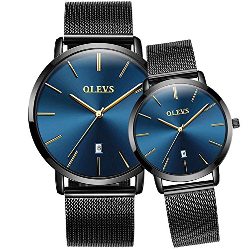 His and Her Couple Watches, Fashion Minimalist Wrist Watch with Automatic Date Calendar, Thin Watches Blue Dial Japanese Quartz Movement Mesh Watch Business Casual Waterproof Watches for Men Women
