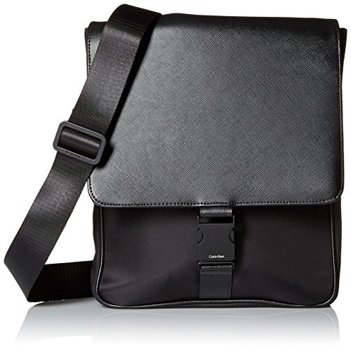 Calvin Klein Men's Nylon/Saffiano City Bag, Black, One Size