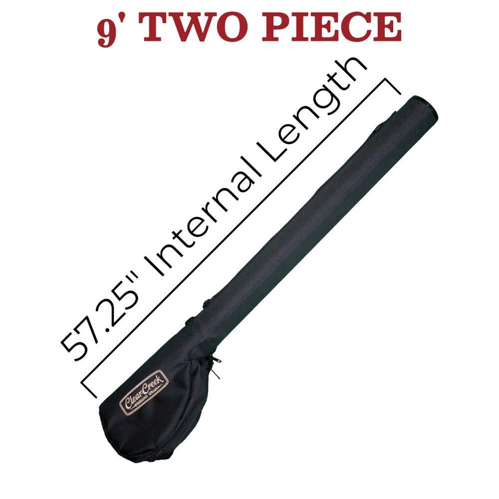 Clear Creek Portable Fly Fishing Rod & Reel Case 9' (Two Piece) - Complete Storage Protection - Easy to Carry - Durable, Abrasion Resistant Water-Resistant and Works with Fresh + Saltwater Rods